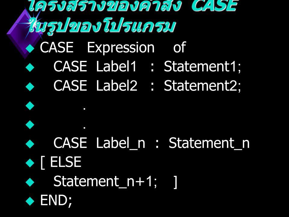 Synta x : Synta x : CAS E ELSE END Expression Case Labels Statements OF ; ; Case Labels :- Constant..