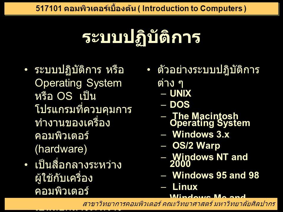 การเปิดปิดเครื่องคอมพิวเตอร์ การเปิดเครื่อง – หากเครื่องปิดอยู่ในกด ปุ่ม power – หากไม่ปรากฎภาพใด ๆ ที่จอภาพ ให้กดปุ่มเปิด จอภาพ – เครื่องจะเริ่มทำงาน