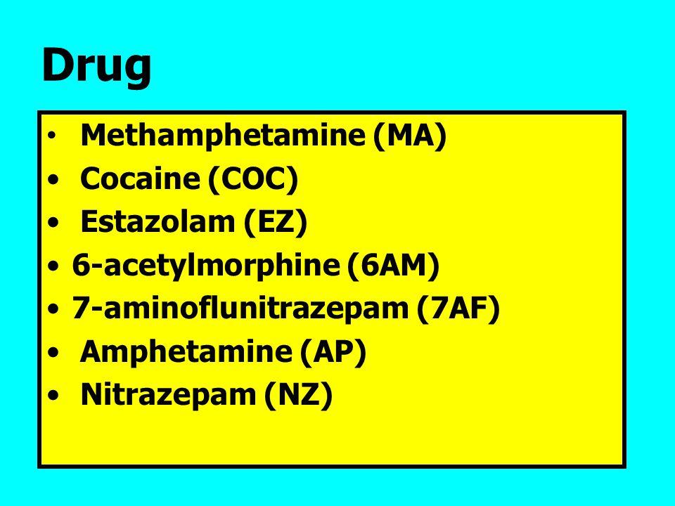 Drug Methamphetamine (MA) Cocaine (COC) Estazolam (EZ) 6-acetylmorphine (6AM) 7-aminoflunitrazepam (7AF) Amphetamine (AP) Nitrazepam (NZ)
