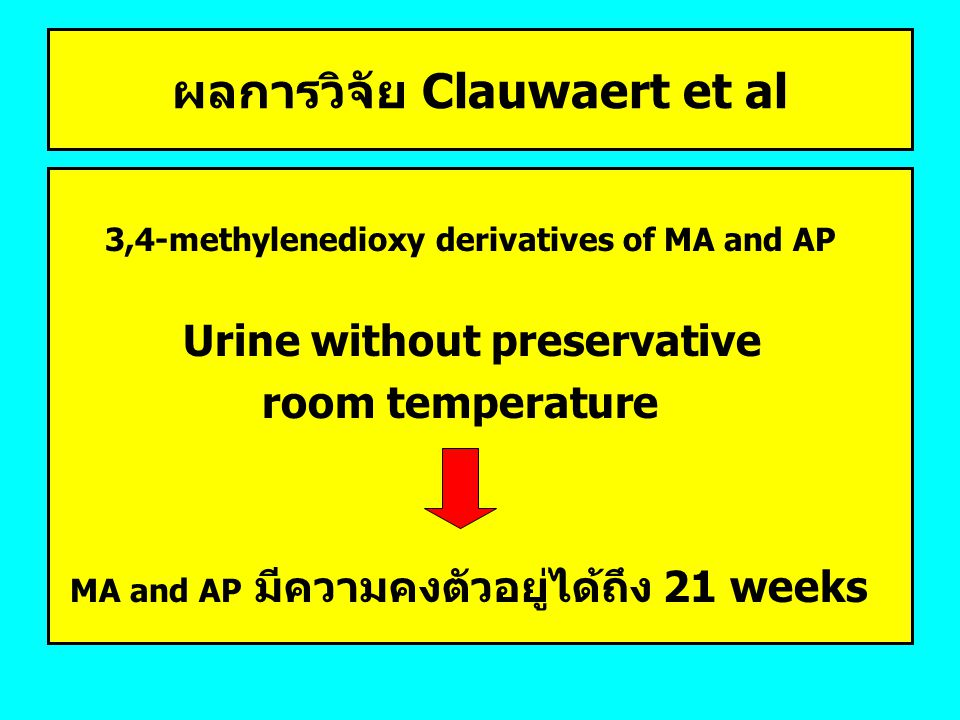 ผลการวิจัย Clauwaert et al 3,4-methylenedioxy derivatives of MA and AP Urine without preservative room temperature MA and AP มีความคงตัวอยู่ได้ถึง 21