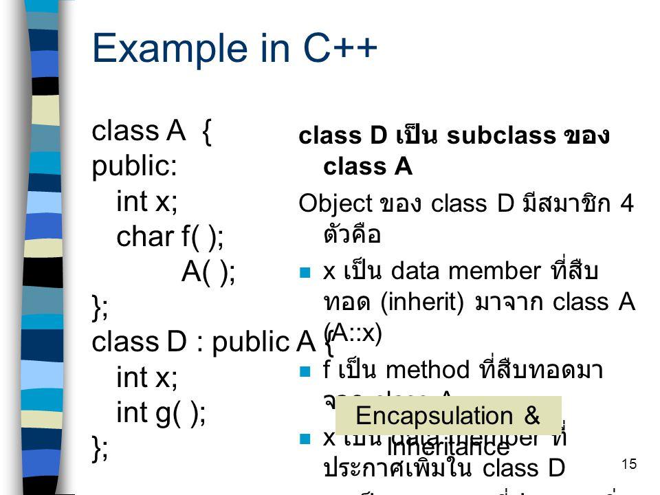 14 Object-oriented concept Method overloading เป็นการเรียก method หนึ่งด้วย argument ที่แตกต่างกันไปในการ เรียกแต่ละครั้ง และจะต้องมีหลาย ๆ method สำห