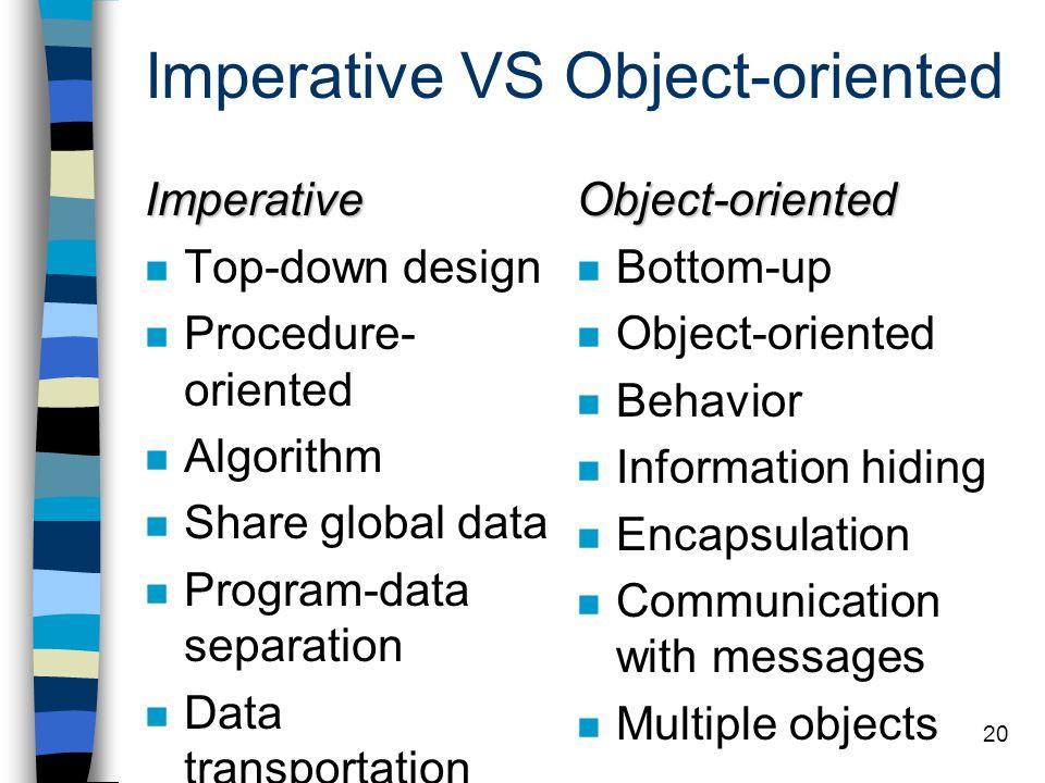 19 ข้อเสียของ OOP เข้าใจยาก สำหรับผู้เริ่มต้นเขียนโปรแกรม หรือถนัดเขียนโปรแกรม แบบ procedural ทำงานได้ช้ากว่าภาษาโปรแกรมอื่น ภาษามีความกำกวม ถ้ามีลักษณะ multiple inheritance