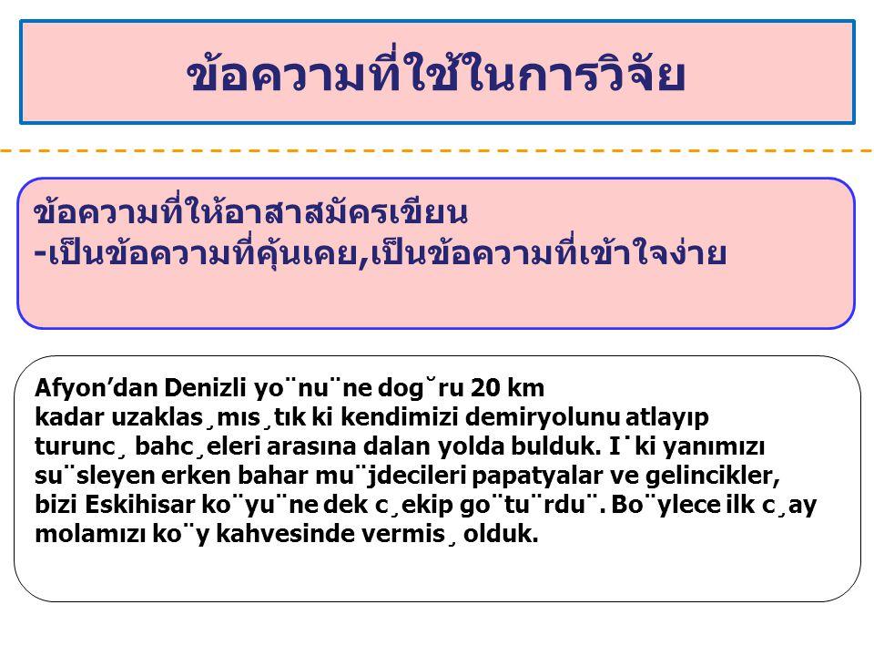 ข้อความที่ใช้ในการวิจัย ข้อความที่ให้อาสาสมัครเขียน -เป็นข้อความที่คุ้นเคย,เป็นข้อความที่เข้าใจง่าย Afyon'dan Denizli yo¨nu¨ne dog˘ru 20 km kadar uzak