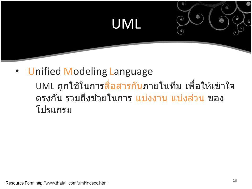 UML Unified Modeling Language UML ถูกใช้ในการสื่อสารกันภายในทีม เพื่อให้เข้าใจ ตรงกัน รวมถึงช่วยในการ แบ่งงาน แบ่งส่วน ของ โปรแกรม 18 Resource Form ht