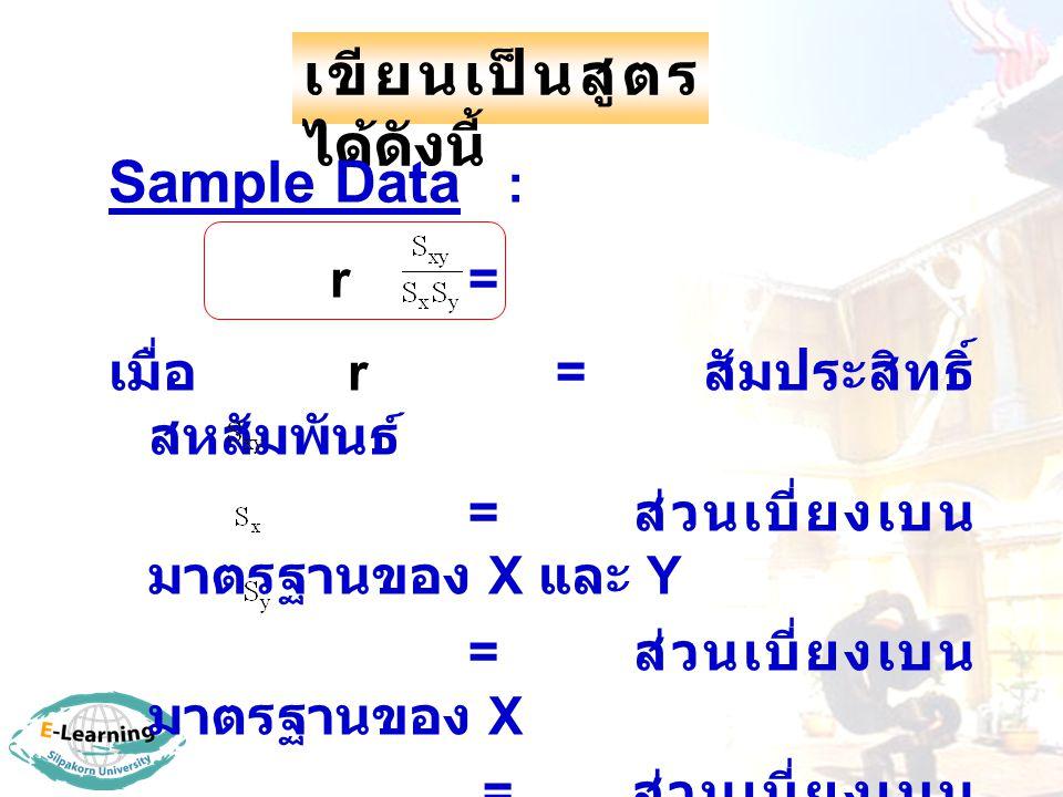 เขียนเป็นสูตร ได้ดังนี้ Sample Data : r = เมื่อ r = สัมประสิทธิ์ สหสัมพันธ์ = ส่วนเบี่ยงเบน มาตรฐานของ X และ Y = ส่วนเบี่ยงเบน มาตรฐานของ X = ส่วนเบี่ยงเบน มาตรฐานของ Y