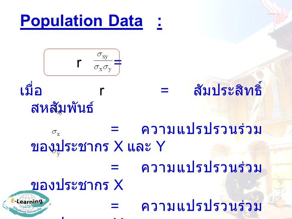 Population Data : r = เมื่อ r = สัมประสิทธิ์ สหสัมพันธ์ = ความแปรปรวนร่วม ของประชากร X และ Y = ความแปรปรวนร่วม ของประชากร X = ความแปรปรวนร่วม ของประชา