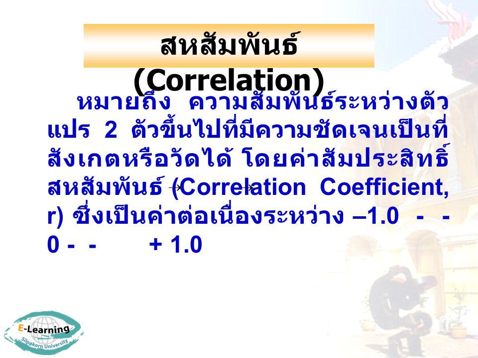 สหสัมพันธ์ (Correlation) หมายถึง ความสัมพันธ์ระหว่างตัว แปร 2 ตัวขึ้นไปที่มีความชัดเจนเป็นที่ สังเกตหรือวัดได้ โดยค่าสัมประสิทธิ์ สหสัมพันธ์ (Correlation Coefficient, r) ซึ่งเป็นค่าต่อเนื่องระหว่าง –1.0 -  - 0 -  - + 1.0