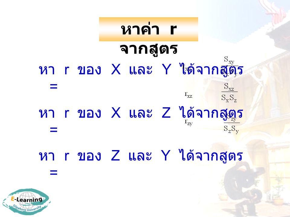 หาค่า r จากสูตร หา r ของ X และ Y ได้จากสูตร = หา r ของ X และ Z ได้จากสูตร = หา r ของ Z และ Y ได้จากสูตร =