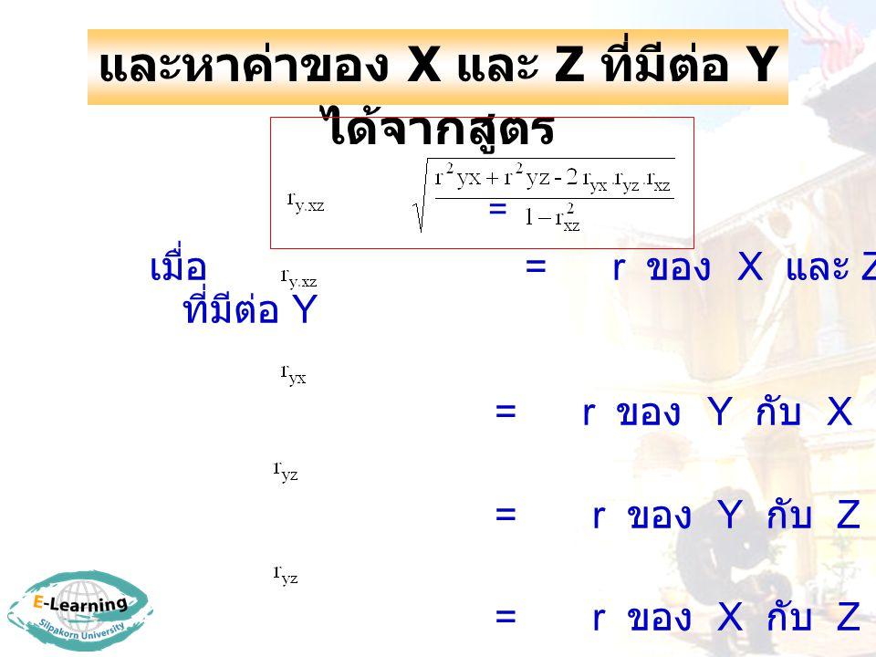 และหาค่าของ X และ Z ที่มีต่อ Y ได้จากสูตร = เมื่อ = r ของ X และ Z ที่มีต่อ Y = r ของ Y กับ X = r ของ Y กับ Z = r ของ X กับ Z