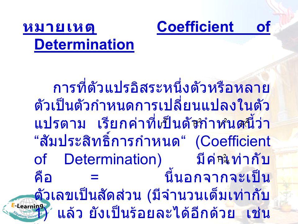 หมายเหตุ Coefficient of Determination การที่ตัวแปรอิสระหนึ่งตัวหรือหลาย ตัวเป็นตัวกำหนดการเปลี่ยนแปลงในตัว แปรตาม เรียกค่าที่เป็นตัวกำหนดนี้ว่า สัมประสิทธิ์การกำหนด (Coefficient of Determination) มีค่าเท่ากับ คือ = นี้นอกจากจะเป็น ตัวเลขเป็นสัดส่วน ( มีจำนวนเต็มเท่ากับ 1) แล้ว ยังเป็นร้อยละได้อีกด้วย เช่น ได้ = 0.65 หมายความว่า x เป็นตัวกำหนด y ร้อยละ 65