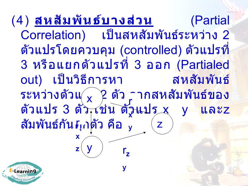 (4) สหสัมพันธ์บางส่วน (Partial Correlation) เป็นสหสัมพันธ์ระหว่าง 2 ตัวแปรโดยควบคุม (controlled) ตัวแปรที่ 3 หรือแยกตัวแปรที่ 3 ออก (Partialed out) เป็นวิธีการหา สหสัมพันธ์ ระหว่างตัวแปร 2 ตัว จากสหสัมพันธ์ของ ตัวแปร 3 ตัว เช่น ตัวแปร x y และ z สัมพันธ์กันทุกตัว คือ x z y rxyrxy rzyrzy rxzrxz
