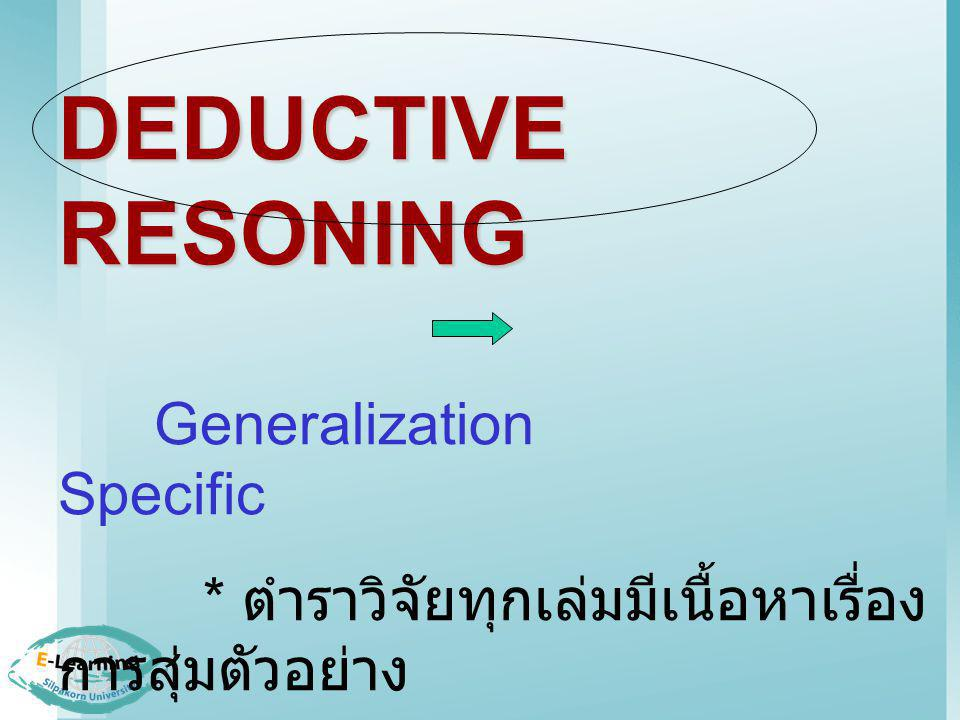 INDUCTIVE RESONING Specific Generalization * ตำราวิจัยแต่ละเล่มมีเนื้อหา เรื่องการสุ่มตัวอย่าง ดังนั้น * ตำราวิจัยทุกเล่มมีเนื้อหา เรื่องการสุ่มตัวอย่