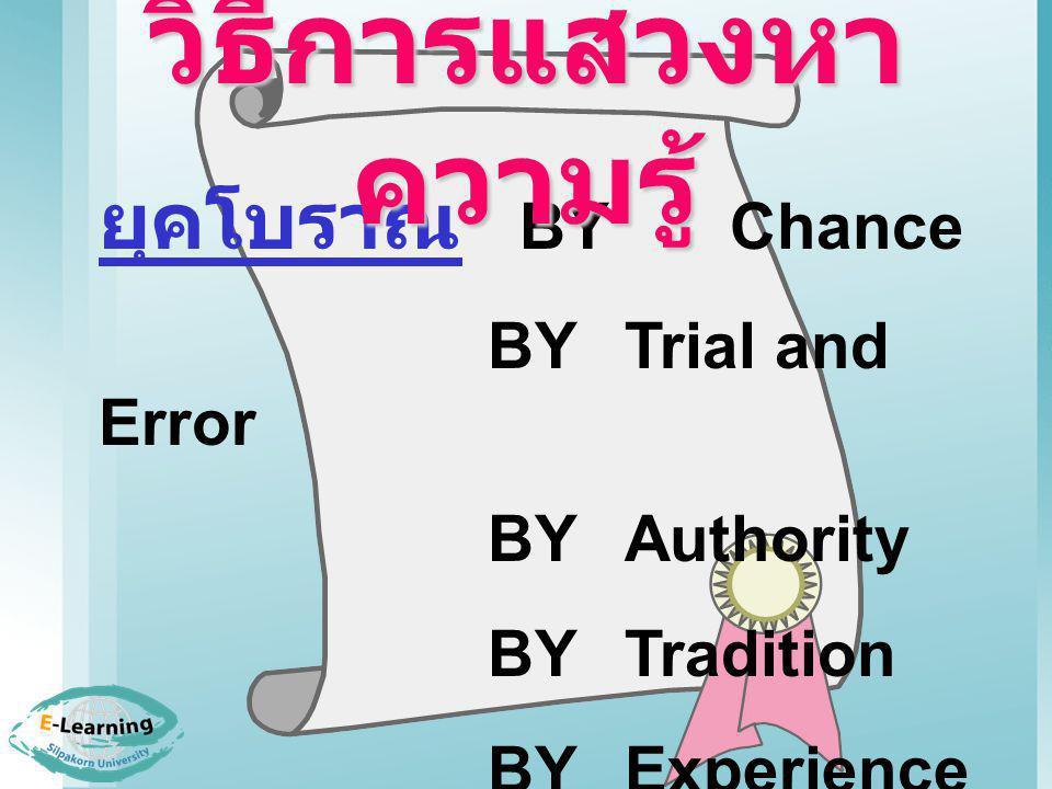 ยุคโบราณ BY Chance BYTrial and Error BY Authority BYTradition BYExperience วิธีการแสวงหา ความรู้