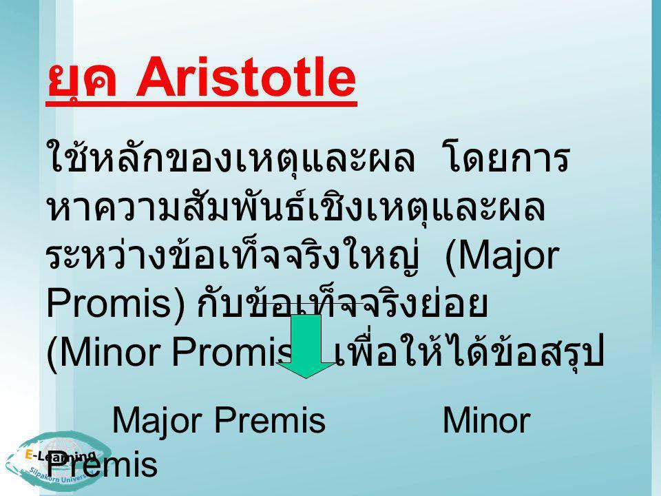 ยุค Aristotle ใช้หลักของเหตุและผล โดยการ หาความสัมพันธ์เชิงเหตุและผล ระหว่างข้อเท็จจริงใหญ่ (Major Promis) กับข้อเท็จจริงย่อย (Minor Promis) เพื่อให้ได้ข้อสรุป Major PremisMinor Premis Conclusion
