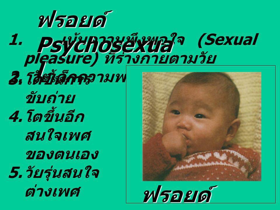 1. เน้นความพึงพอใจ (Sexual pleasure) ที่ร่างกายตามวัย 2. วัยเด็กความพอใจอยู่ที่ปาก ฟรอยด์ Psychosexua l 3. โตขึ้นการ ขับถ่าย 4. โตขึ้นอีก สนใจเพศ ของต