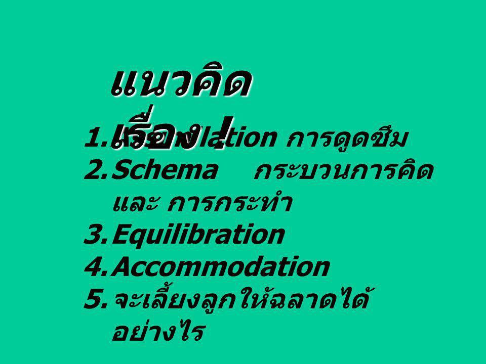 1.Assimilation การดูดซึม 2.Schema กระบวนการคิด และ การกระทำ 3.Equilibration 4.Accommodation 5. จะเลี้ยงลูกให้ฉลาดได้ อย่างไร แนวคิด เรื่อง !