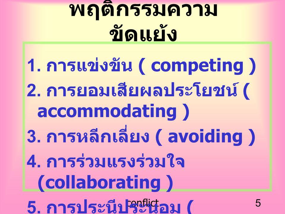 conflict5 พฤติกรรมความ ขัดแย้ง 1. การแข่งขัน ( competing ) 2. การยอมเสียผลประโยชน์ ( accommodating ) 3. การหลีกเลี่ยง ( avoiding ) 4. การร่วมแรงร่วมใจ