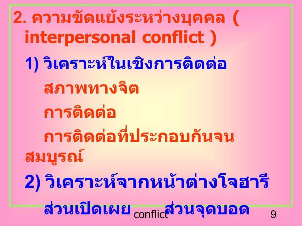 conflict9 2. ความขัดแย้งระหว่างบุคคล ( interpersonal conflict ) 1) วิเคราะห์ในเชิงการติดต่อ สภาพทางจิต การติดต่อ การติดต่อที่ประกอบกันจน สมบูรณ์ 2) วิ