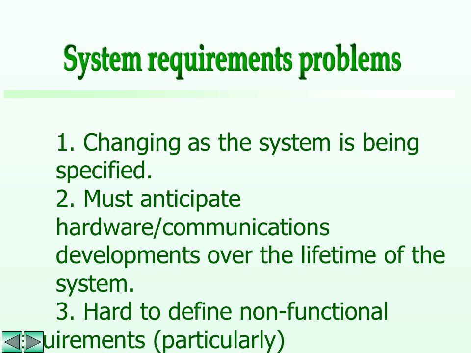 1. Changing as the system is being specified. 2. Must anticipate hardware/communications developments over the lifetime of the system. 3. Hard to defi