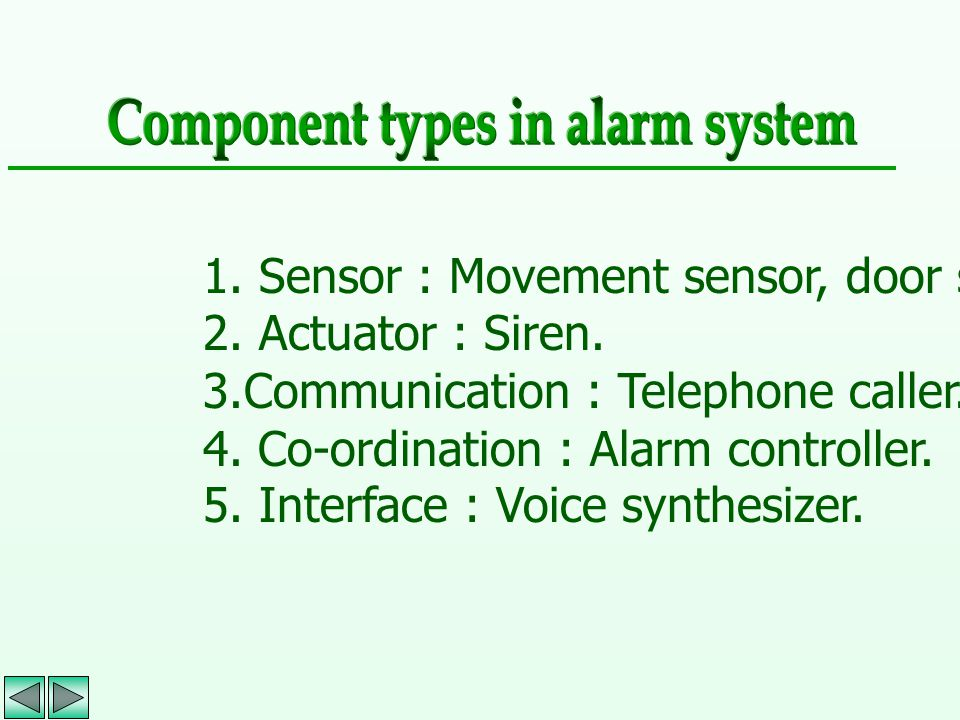 1. Sensor : Movement sensor, door sensor. 2. Actuator : Siren. 3.Communication : Telephone caller. 4. Co-ordination : Alarm controller. 5. Interface :