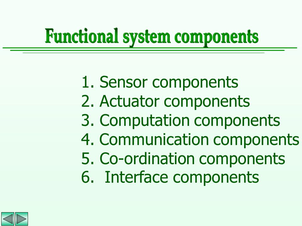1. Sensor components 2. Actuator components 3. Computation components 4. Communication components 5. Co-ordination components 6. Interface components