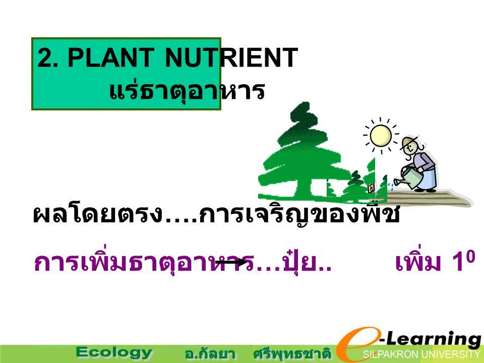 2. PLANT NUTRIENT แร่ธาตุอาหาร ผลโดยตรง …. การเจริญของพืช การเพิ่มธาตุอาหาร … ปุ๋ย.. เพิ่ม 1 0 PRODUCTIVITY