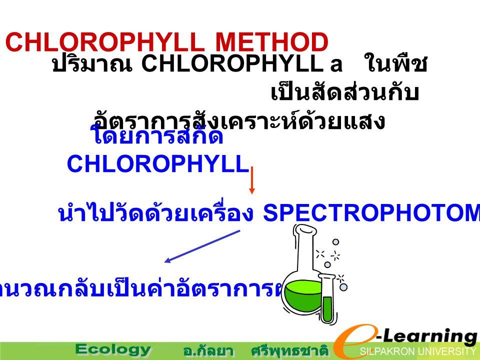 2. CHLOROPHYLL METHOD ปริมาณ CHLOROPHYLL a ในพืช เป็นสัดส่วนกับ อัตราการสังเคราะห์ด้วยแสง โดยการสกัด CHLOROPHYLL นำไปวัดด้วยเครื่อง SPECTROPHOTOMETER