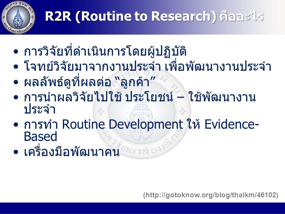 เป็นการถ่ายทอดผลลัพธ์ของ งานวิจัยหนึ่งเรื่องหรือผลลัพธ์ของ งานวิจัยมากกว่าหนึ่งเรื่อง หรือเป็นกลุ่ม งานวิจัยที่ได้ทบทวนอย่างเป็นระบบลงสู่ การปฏิบัติ เป็นอีกวิถีทางหนึ่งในการ พัฒนาคุณภาพ การใช้ผลการวิจัย