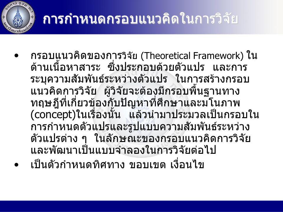 การกำหนดกรอบแนวคิดในการวิจัย กรอบแนวคิดของการ วิจัย (Theoretical Framework) ใน ด้านเนื้อหาสาระ ซึ่งประกอบด้วยตัวแปร และการ ระบุความสัมพันธ์ระหว่างตัวแปร ในการสร้างกรอบ แนวคิดการวิจัย ผู้วิจัยจะต้องมีกรอบพื้นฐานทาง ทฤษฎีที่เกี่ยวข้องกับปัญหาที่ศึกษาและมโนภาพ (concept)ในเรื่องนั้น แล้วนำมาประมวลเป็นกรอบใน การกำหนดตัวแปรและรูปแบบความสัมพันธ์ระหว่าง ตัวแปรต่าง ๆ ในลักษณะของกรอบแนวคิดการวิจัย และพัฒนาเป็นแบบจำลองในการวิจัยต่อไป เป็นตัวกำหนดทิศทาง ขอบเขต เงื่อนไข