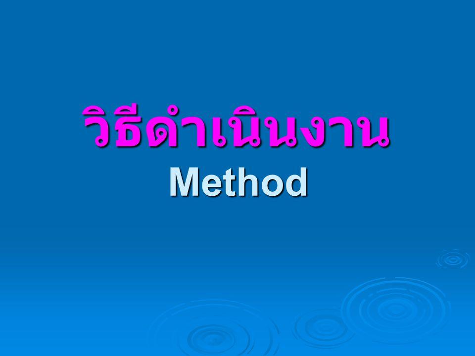 วิธีดำเนินงาน Method