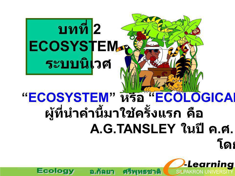 """ECOSYSTEM"" หรือ ""ECOLOGICAL SYSTEM"" ผู้ที่นำคำนี้มาใช้ครั้งแรก คือ A.G.TANSLEY ในปี ค. ศ. 1935 โดยให้ความหมายไว้ว่า บทที่ 2 ECOSYSTEM ระบบนิเวศ"