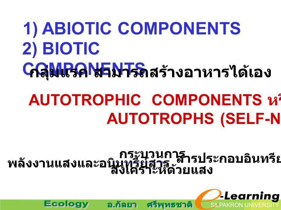 2) BIOTIC COMPONENTS AUTOTROPHIC COMPONENTS หรือ AUTOTROPHS (SELF-NOURISHING) สารประกอบอินทรีย์ที่ซับซ้อน พลังงานแสงและอนินทรีย์สาร กระบวนการ สังเคราะ