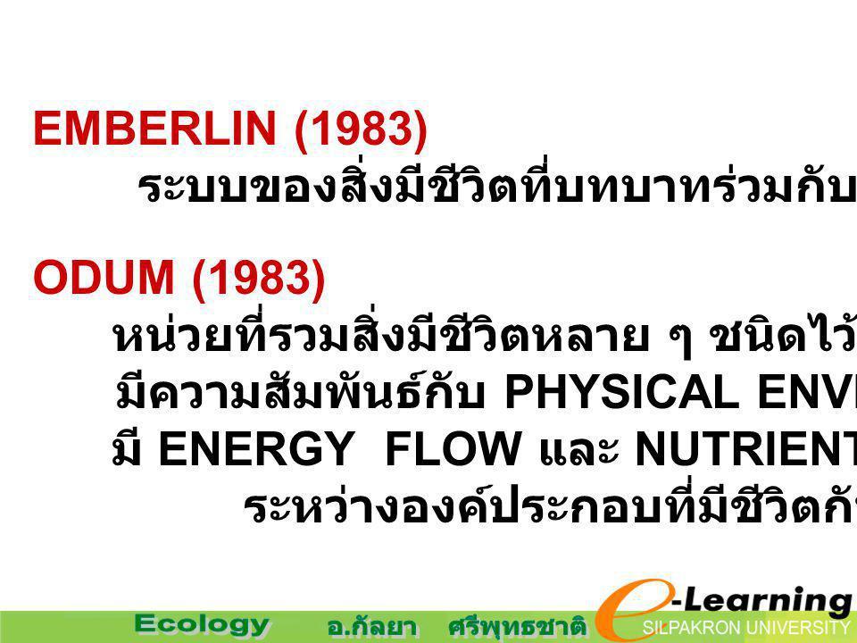 ODUM (1983) หน่วยที่รวมสิ่งมีชีวิตหลาย ๆ ชนิดไว้ด้วยกันในขอบเขต มีความสัมพันธ์กับ PHYSICAL ENVIRONMENT มี ENERGY FLOW และ NUTRIENT CYCLING ระหว่างองค์