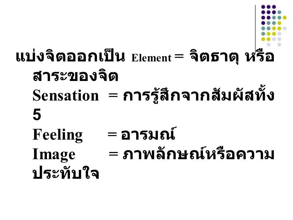 แบ่งจิตออกเป็น Element = จิตธาตุ หรือ สาระของจิต Sensation = การรู้สึกจากสัมผัสทั้ง 5 Feeling = อารมณ์ Image = ภาพลักษณ์หรือความ ประทับใจ