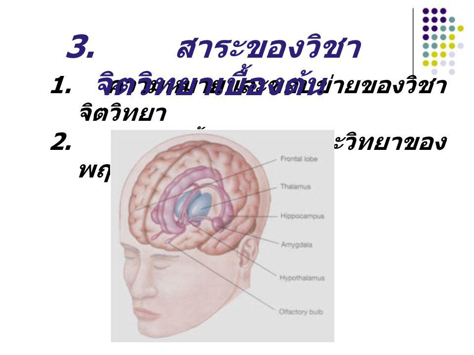 1. ความหมายและขอบข่ายของวิชา จิตวิทยา 2. พื้นฐานทางชีวะวิทยาของ พฤติกรรม 3. สาระของวิชา จิตวิทยาเบื้องต้น