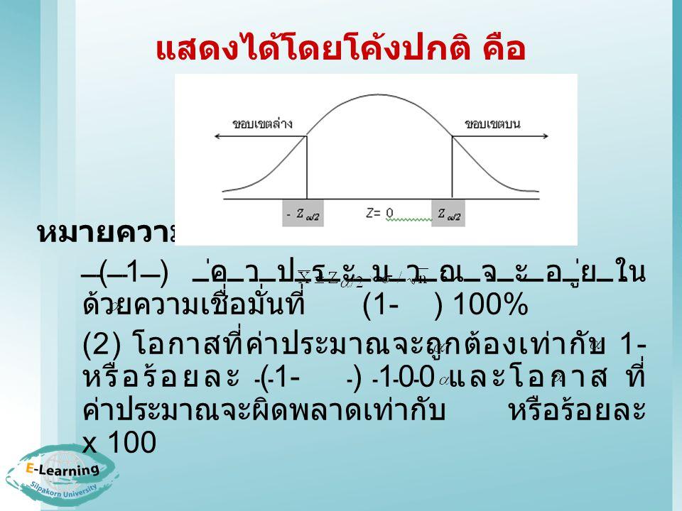 แสดงได้โดยโค้งปกติ คือ หมายความว่า (1) ค่าประมาณจะอยู่ใน ด้วยความเชื่อมั่นที่ (1- ) 100% (2) โอกาสที่ค่าประมาณจะถูกต้องเท่ากับ 1- หรือร้อยละ (1- ) 100 และโอกาส ที่ ค่าประมาณจะผิดพลาดเท่ากับ หรือร้อยละ x 100
