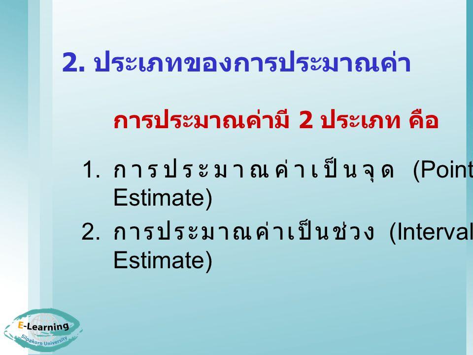 2.1 การประมาณค่าเป็นจุด (Point Estimate) คือ การประมาณค่าพารามิเตอร์ ด้วยค่าสถิติค่าใดค่าหนึ่งเพียงค่า เดียว (1.) ประมาณค่าเฉลี่ยของ ประชากรจากค่าเฉลี่ยของ ตัวอย่าง โดยที่จะประมาณ ค่าเฉลี่ยของประชากรได้ดีที่สุด จาก ค่าเฉลี่ยของตัวอย่าง