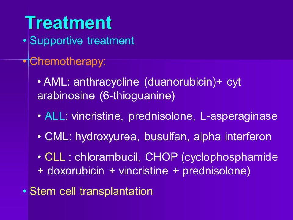 Treatment Supportive treatment Chemotherapy: AML: anthracycline (duanorubicin)+ cyt arabinosine (6-thioguanine) ALL: vincristine, prednisolone, L-aspe