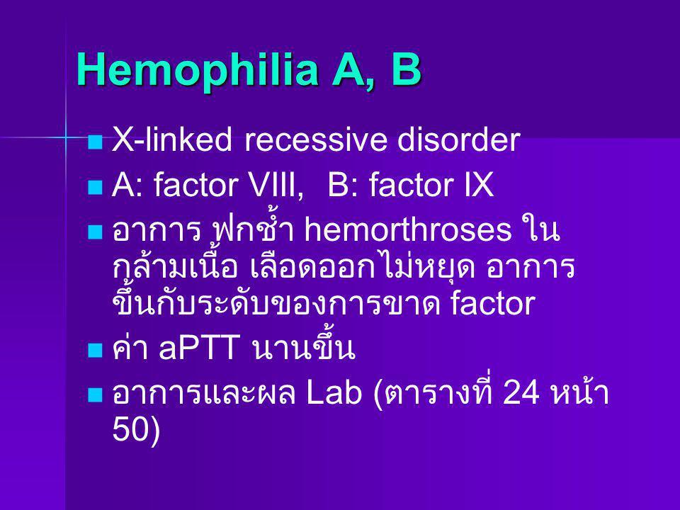 Hemophilia A, B X-linked recessive disorder A: factor VIII, B: factor IX อาการ ฟกช้ำ hemorthroses ใน กล้ามเนื้อ เลือดออกไม่หยุด อาการ ขึ้นกับระดับของก