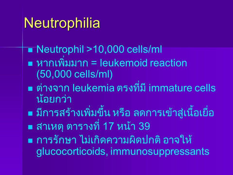Eosinopenia eosinophil< 50 cells/ml ซึ่งพบได้ น้อย สาเหตุ ติดเชื้อเฉียบพลัน รับ epinephrine, glucocorticoids
