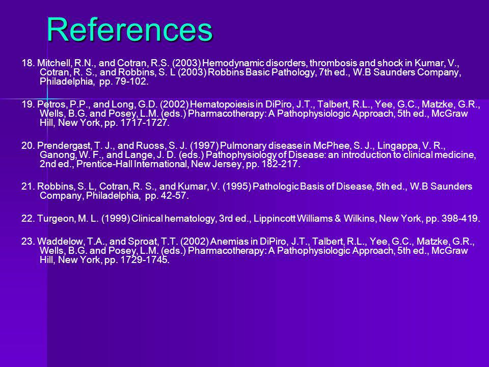 References 18. Mitchell, R.N., and Cotran, R.S. (2003) Hemodynamic disorders, thrombosis and shock in Kumar, V., Cotran, R. S., and Robbins, S. L (200