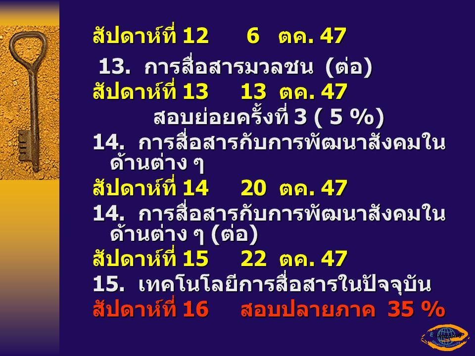 สัปดาห์ที่ 12 6 ตค. 47 13. การสื่อสารมวลชน ( ต่อ ) 13. การสื่อสารมวลชน ( ต่อ ) สัปดาห์ที่ 13 13 ตค. 47 สอบย่อยครั้งที่ 3 ( 5 %) 14. การสื่อสารกับการพั