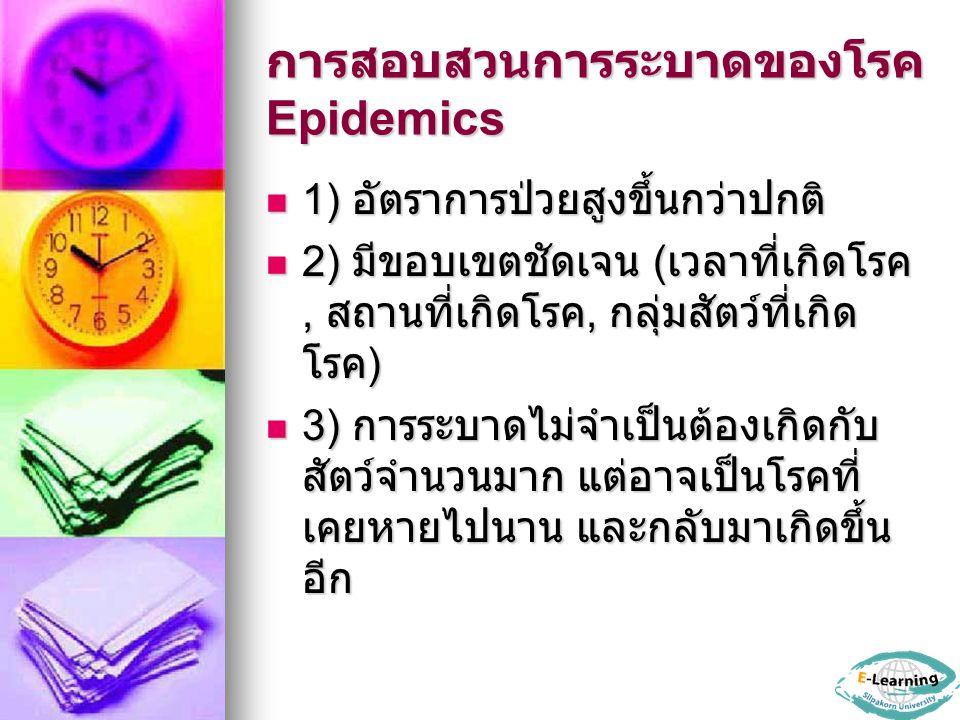 การสอบสวนการระบาดของโรค Epidemics 1) อัตราการป่วยสูงขึ้นกว่าปกติ 1) อัตราการป่วยสูงขึ้นกว่าปกติ 2) มีขอบเขตชัดเจน ( เวลาที่เกิดโรค, สถานที่เกิดโรค, กล