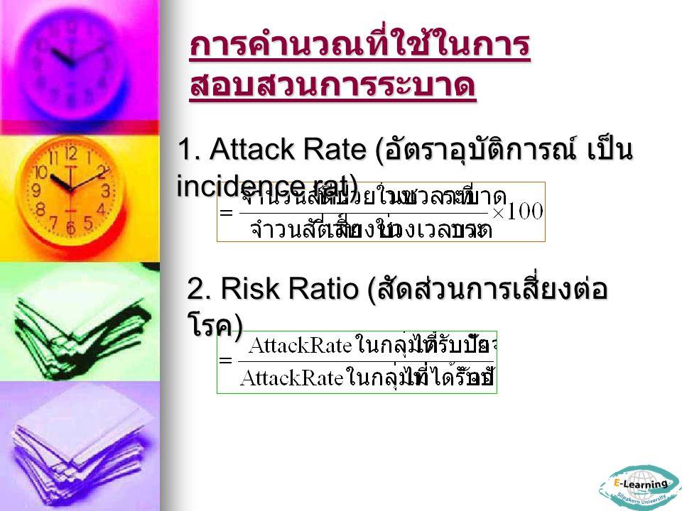 การคำนวณที่ใช้ในการ สอบสวนการระบาด 1. Attack Rate ( อัตราอุบัติการณ์ เป็น incidence rat) 2. Risk Ratio ( สัดส่วนการเสี่ยงต่อ โรค )
