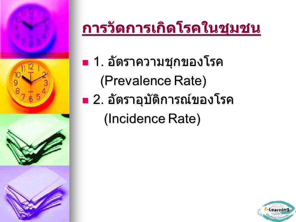 การวัดการเกิดโรคในชุมชน 1. อัตราความชุกของโรค 1. อัตราความชุกของโรค (Prevalence Rate) (Prevalence Rate) 2. อัตราอุบัติการณ์ของโรค 2. อัตราอุบัติการณ์ข