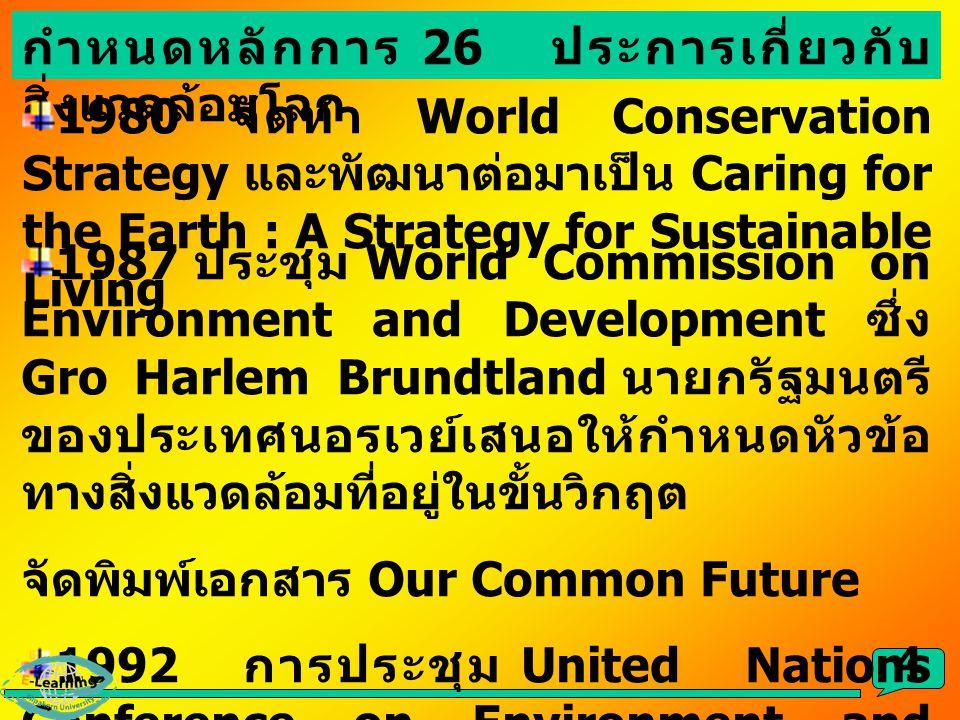 4 กำหนดหลักการ 26 ประการเกี่ยวกับ สิ่งแวดล้อมโลก 1980 จัดทำ World Conservation Strategy และพัฒนาต่อมาเป็น Caring for the Earth : A Strategy for Sustai