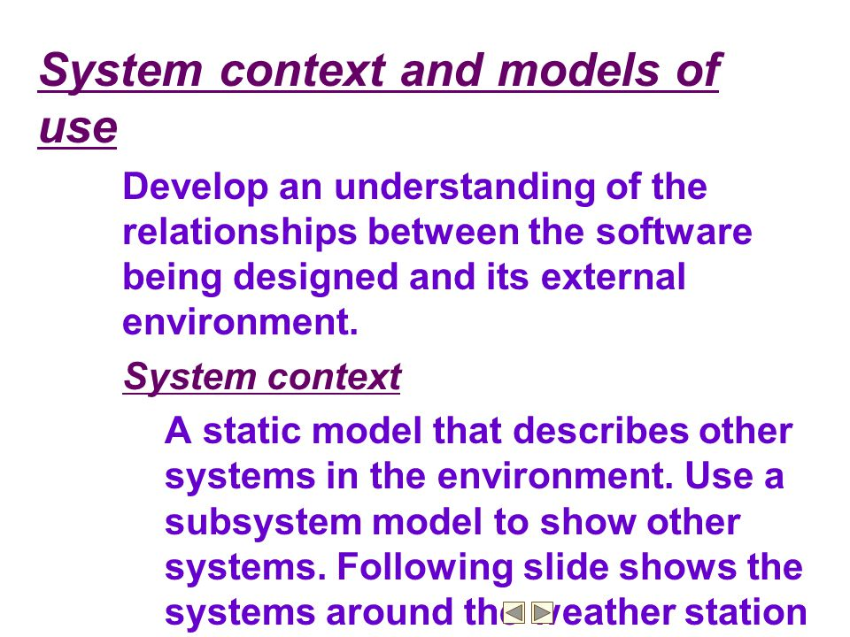Example: Subsystems in the weather mapping system