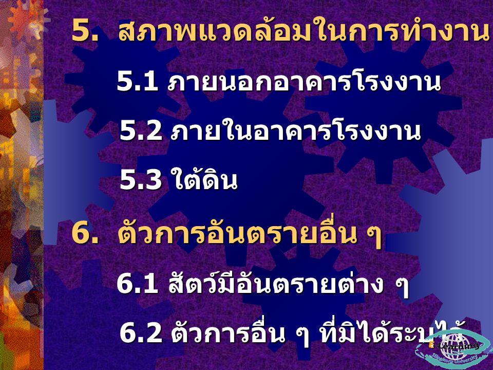 5. สภาพแวดล้อมในการทำงาน 5.1 ภายนอกอาคารโรงงาน 5.1 ภายนอกอาคารโรงงาน 5.2 ภายในอาคารโรงงาน 5.2 ภายในอาคารโรงงาน 5.3 ใต้ดิน 5.3 ใต้ดิน 6. ตัวการอันตรายอ
