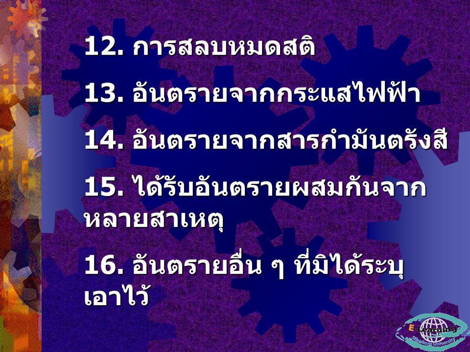 12.การสลบหมดสติ 13. อันตรายจากกระแสไฟฟ้า 14. อันตรายจากสารกำมันตรังสี 15.