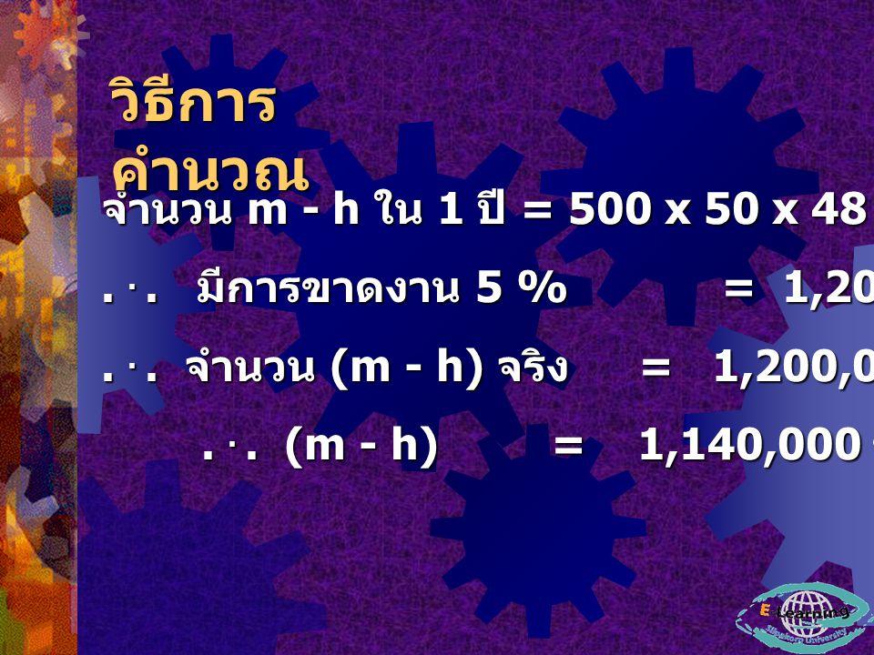 จำนวน m - h ใน 1 ปี = 500 x 50 x 48 = 1,200,000 ชั่วโมง - คนงาน...